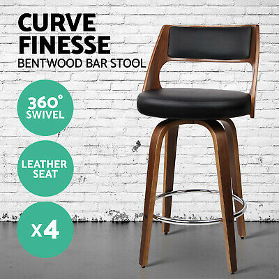 4x Wooden Bar Stools Swivel Barstool Kitchen Dining Chair Wood Black 8569