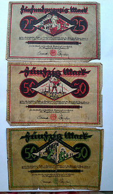Lot of 3 Old Banknotes of Germany