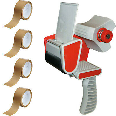 1 TAPE GUN DISPENSER+4 ROLLS BROWN BUFF PACKAGING PARCEL TAPE PACKING 48mm x 66m