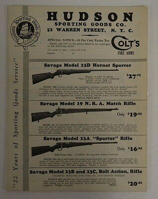 1930's Hudson Sporting Goods Firearm Catalog Winchester Colt Remington D143