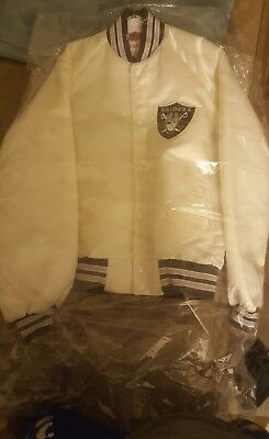 Vintage La Oakland Raiders Satin Chalk Line Rarewhite Jacket!!!!!  Size Small