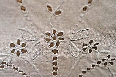 Beautiful Antique Linen Tablecloth With Madeira Embroidery Tt43