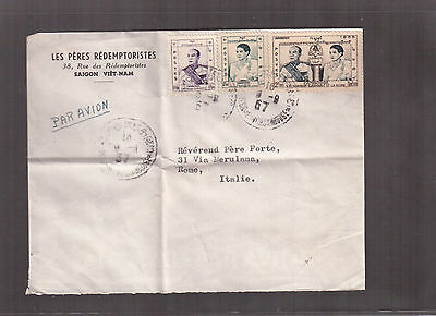 Cambodia 1957 Airmail Cover To Italy !!