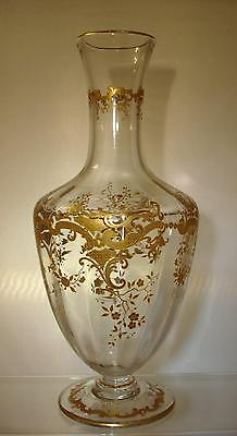 St Louis Crystal Gilt Etched Carafe Talma  Pattern