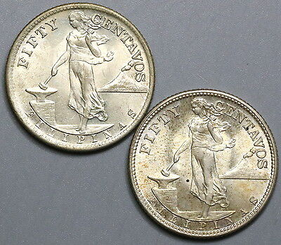 1944-S 1945-S PHILIPPINES Silver 50 centavos TWO WWII Coins (17041128R)