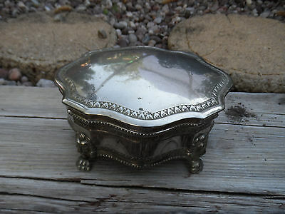 Vintag Footed Jewelry Casket Silver Metal Trinket Box, loin footed lined