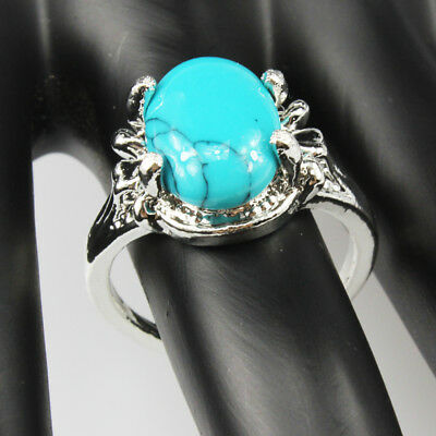 Turquoise Gemstone Fashion  Jewelry 925 Silver Plated Men Women Ring Size 7