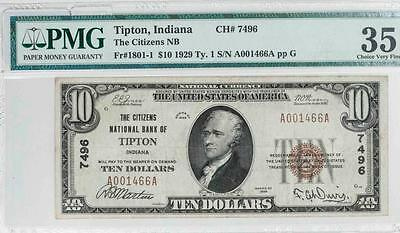 1929 $10 PMG VF35 Tipton, Indiana Nat. Bank Note Fr#1801-1 Ch#7496 It.#T5845