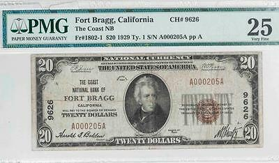 1929 $20 PMG VF25 Fort Bragg, Cal Nat. Bank Note Fr#1802-1 Ch#9626 It.#T5863