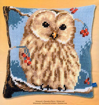 Winter Owl Large Hole Tapestry Canvas Cross Stitch Cushion Front Kit Vervaco