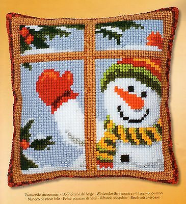 Hi There Happy Snowman Tapestry Canvas Cross Stitch Cushion Front Kit Vervaco