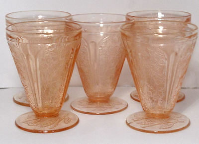 """Jeanette CHERRY BLOSSOM Pink Depression Glass 3.75"""" Footed Tumblers - 5"""
