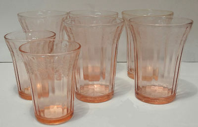 Jeanette CHERRY BLOSSOM Pink Depression Glass Flat Tumblers - Mixed Lot of 7