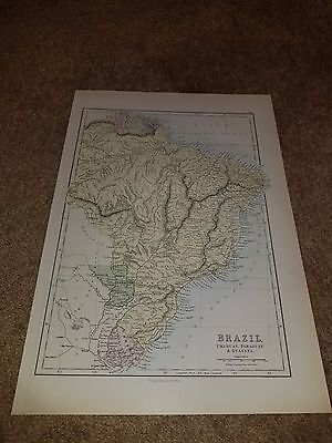 Original 1889 Antique Atlas Map Hand Colored Of Brazil Urugay Paraguay Guayana