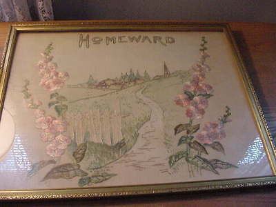 "Vintage 17"" by 21"" Framed Needlework Embroidery Sampler, ""Homeward"""