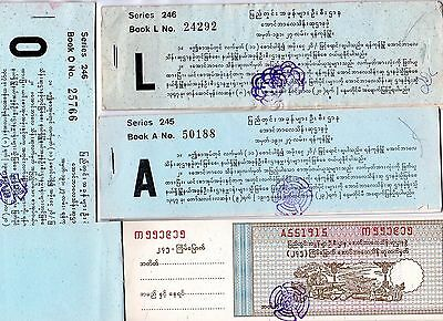 4 Complete Burmese Raffle Ticket Books Elephant Vignette Date Unknown