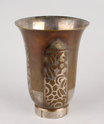1930s Art Deco Antique Christofle Silver Inlay Vase French Art Deco
