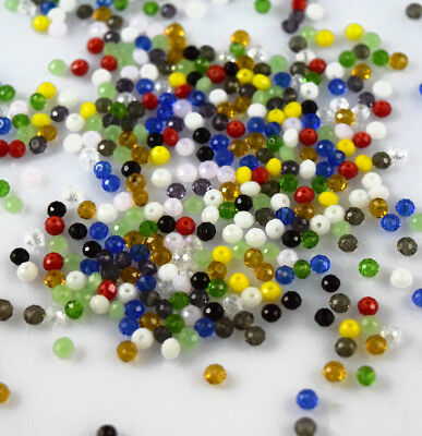 100PCS Crystal Glass Cut Spacer Loose Bead 4MM Mixed Color Faceted Jewelery Find