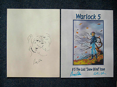 Barry Blair unused signed cover and Original Sketch 2 items