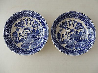 "2 Antique Blue & White Bowls From Japan 5 1/2"" Transferware?"