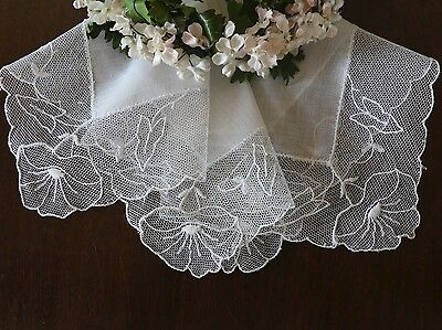 Lovely Vintage French Net Lace Hanky with Embroidered Morning Glories