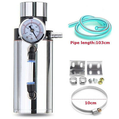 1x Engine Oil Catch Reservoir Breather Tank Can+Vacuum Pressure Gauge Silver
