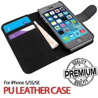 For Apple iPhone 5S SE Genuine Flip Wallet Leather Case Cover (B08
