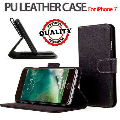 For Apple iPhone 7 Genuine Flip Wallet Leather Case Cover (B08