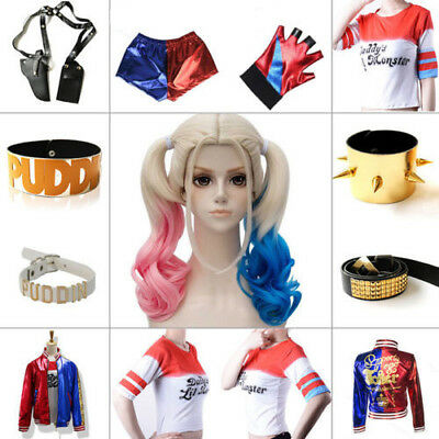 Ladies Suicide Squad Harley Quinn Fancy Dress Costume& Wig &Glove Halloween Lot