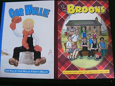 """2 comic books for """"oor wullie"""" and """"the broons"""". published by d.c thomson."""