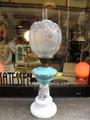 LAMPADA a pertolio vetro glass antique column oil lamp Victorian Ditmar Wien