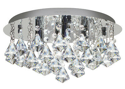 Round Chandelier Ceiling Light with DIAMOND Shape Crystal Droplets STX50019-4D