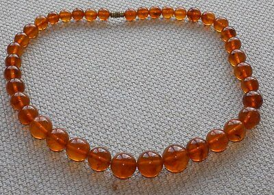 Antique natural round beads Baltic amber necklace,Weight of 49,8 grammes