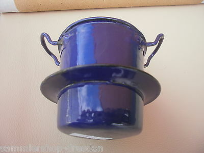 12086 Alter MINIATUR EMAILLE Kochtopf 9cm Puppenstube blau dolls house bowl Herd
