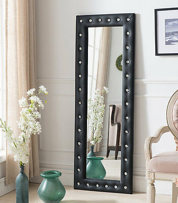InRoom Designs Tufted Full Length Mirror Black