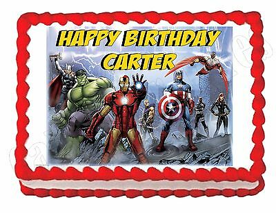 THE AVENGERS cartoon edible party cake topper decoration cake frosting sheet