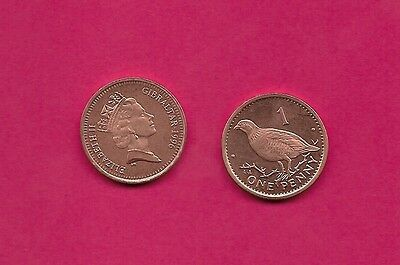Gibraltar British Colony 1 Penny 1996Aa Unc Ruler Elizabeth Ii,barbary Partridge