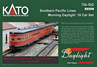 Kato N Scale Southern Pacific Morning Daylight 10 Passenger Car Set 106062