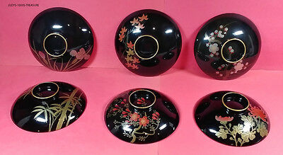 12 Lacquer Ware From Japan Mixed Lot Bowls Plates Salt Pepper Shakers 1960