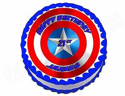 Captain America Shield 6 7 or 8inch 2 Edible round Cake Topper Icing Rice Paper