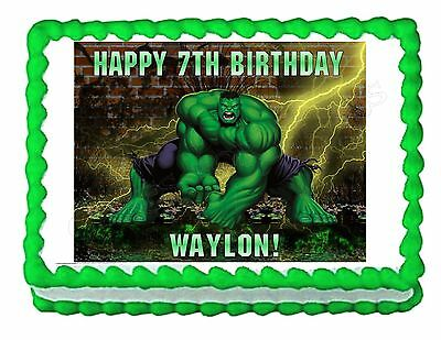 INCREDIBLE HULK party decoration edible cake image topper frosting sheet