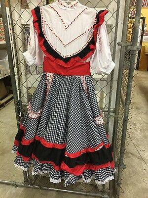 Square Dance Outfit Black White & Red Handmade Full Skirt Back Ties Bow