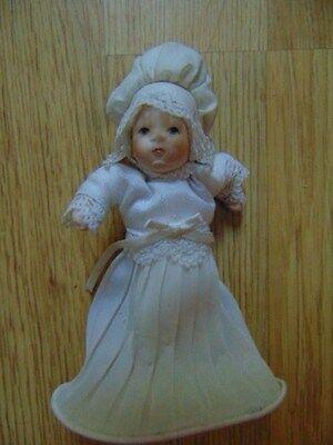Antique/Vintage Dollhouse Bisque BABY DOLL In Handmade Christening Outfit