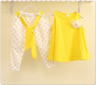 Yellow Cotton Kids Baby Girl 2pcs Dress +Pants Outfit Set Costume Clothes for 6T