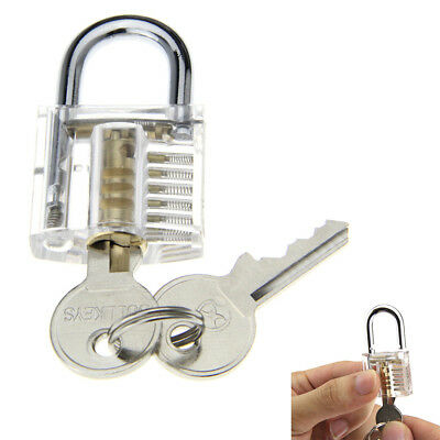 ABS + stainless steel Slotted Silver + Transparent Pratice Padlock w/2 keys