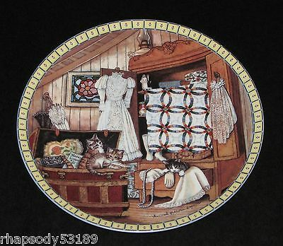 Attic Afternoon - Hannah Hollister Ingmire Cozy Country Corners Plate 1991 cats
