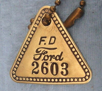 Vintage Tool Check Brass Tag: FORD HIGHLAND PARK Automotive Factory; w/Key Chain