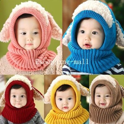 Winter Baby Kids Toddler Girls Boys Warm Woolen Knitted Coif Hood Scarf Caps Hat