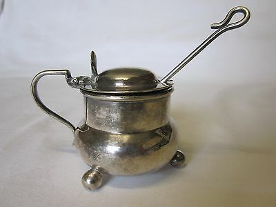 Antique Maple & Co EPNS silver plated mustard pot, spoon, blue glass insert