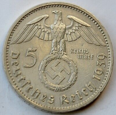 5 Mark 1939 A Third Reich Nazi Germany Silver coin